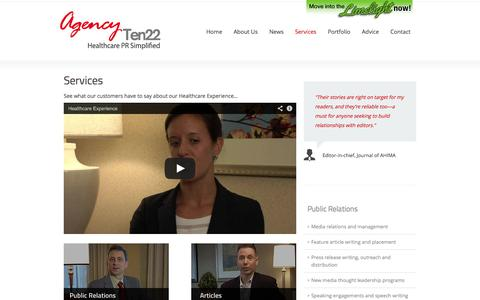 Screenshot of Services Page ten22pr.com - Healthcare Marketing Services | Agency Ten22 - captured Oct. 4, 2014