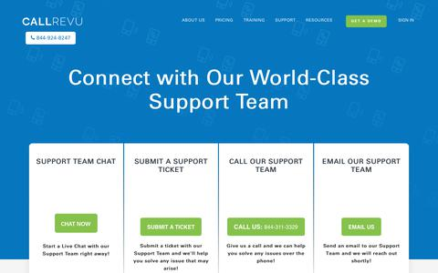 Screenshot of Contact Page Support Page callrevu.com - Contact Support - captured April 2, 2019