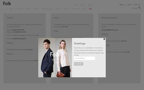 Screenshot of Contact Page folkclothing.com - contact - Folk Clothing - captured Oct. 20, 2015
