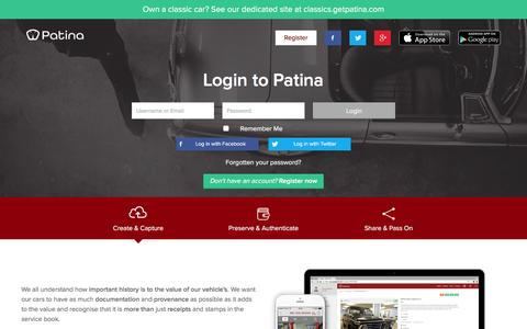 Screenshot of Login Page getpatina.com - Patina - Authenticated digital vehicle history - captured Jan. 26, 2016