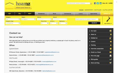 Screenshot of Contact Page hoamz.co.nz - hoamz - captured July 19, 2016