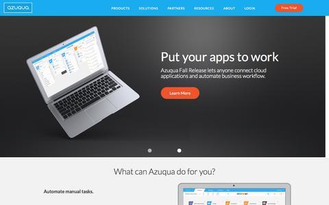 Screenshot of Home Page azuqua.com - Cloud-native integration platform as a service | Azuqua - captured Oct. 1, 2015