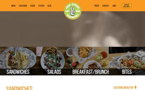 Screenshot of Menu Page evenstevens.com - Even Stevens - A Sandwich Shop With A Cause - captured Jan. 31, 2016