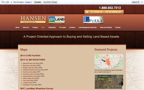 Screenshot of Maps & Directions Page hansenlandco.com - Maps   Hansen Land Broker - captured Jan. 25, 2016