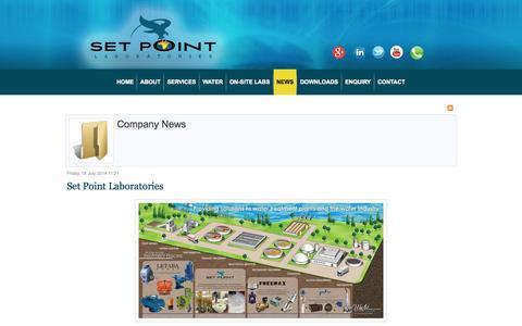 Screenshot of Press Page setpointlabs.co.za - Company News - captured Nov. 3, 2014