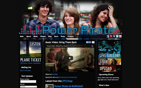 Screenshot of Home Page power-pirate.com - Power Pirate - Washington D.C. Electronic Rock Band - captured Oct. 9, 2015