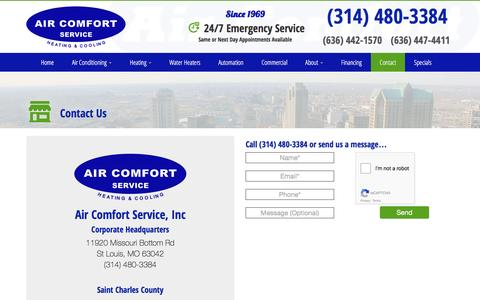 Screenshot of Contact Page aircomfortservice.com - Contact Us | Air Comfort Service St. Louis & St. Charles, MO - captured Nov. 12, 2016
