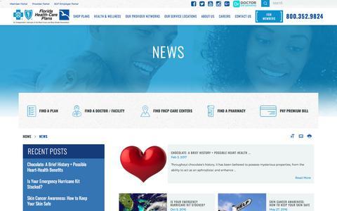 Screenshot of Press Page fhcp.com - Healthcare Blog | Florida Health Care Plans - captured June 26, 2017
