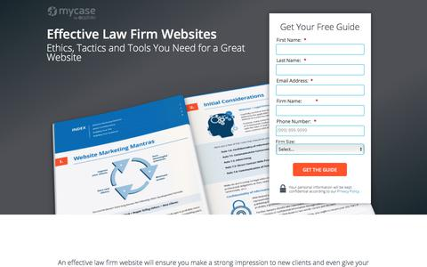 Screenshot of Landing Page mycase.com - Effective Law Firm Websites :: MyCase Legal Resources - captured March 13, 2018