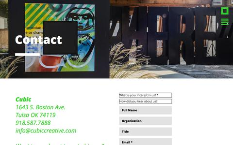 Screenshot of Contact Page cubiccreative.com - Cubic Creative Agency - captured July 22, 2018