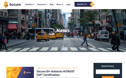 Screenshot of Press Page socure.com - News | ID Verification Services | Socure | HITRUST - captured Oct. 18, 2019