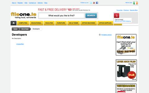 Screenshot of Developers Page fileone.ie - Discount Office Supplies, Stationery, Furniture, Ink & Toner Cartridges : Fileone.ie - captured Sept. 30, 2014