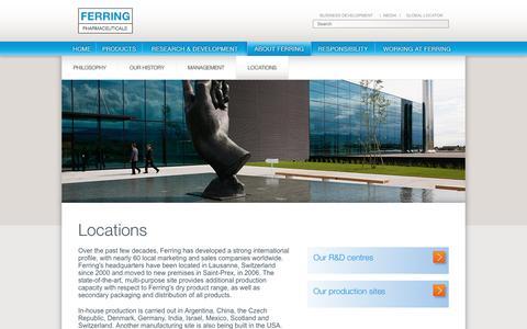 Screenshot of Locations Page ferring.com - Locations - Ferring Corporate Website - captured Nov. 25, 2016