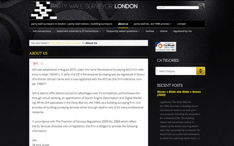 Screenshot of About Page partywallsurveyor-london.co.uk - About Us - Party Wall Surveyor - London - captured Oct. 1, 2014