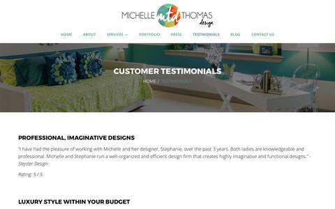 Screenshot of Testimonials Page michellethomasdesign.com - Customer Testimonials   Michelle Thomas Design   Austin, TX - captured June 10, 2017