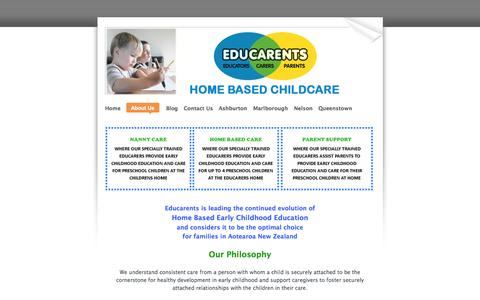 Screenshot of About Page educarents.com - About Us - Educarents coordinates high quality, affordable home based childcare and education services.  Educarents is available to families who already have a family member helping with childcare and is ideal for parents wanting training and support - captured Oct. 2, 2014
