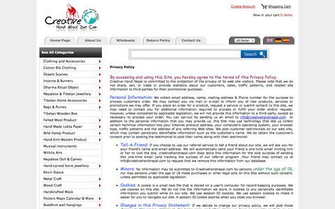 Screenshot of Privacy Page creativehandnepal.com - Creative Hand Nepal :: Nepal Trade Fair  an Online Wholesale Handicraft Marketplace ! - captured Oct. 30, 2014