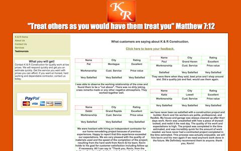 """Screenshot of Testimonials Page knrconstruction.net - Testimonials - """"Treat others as you would have them treat you"""" Matthew 7:12 - captured Oct. 6, 2014"""