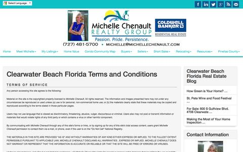 Screenshot of Terms Page michellechenault.com - Clearwater Beach Florida Terms and Conditions - Michelle Chenault Real Estate - captured Nov. 9, 2016