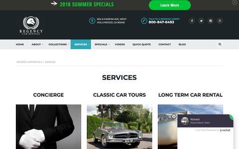 Screenshot of Services Page regencycarrentals.com - Services - Regency Car Rentals - captured Sept. 21, 2018
