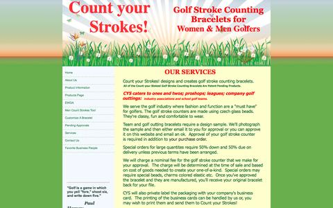 Screenshot of Services Page countyourstrokes.com - golf stroke counting bracelets, Count Your Strokes! Palatine, IL Services - captured July 16, 2016