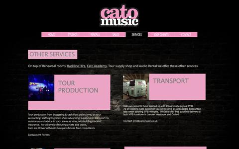 Screenshot of Services Page catomusic.co.uk - Touring services | UK | Cato Music - captured July 6, 2018