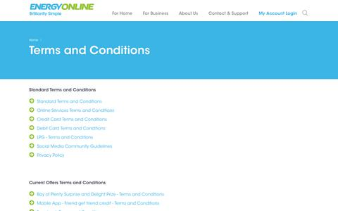 Screenshot of Terms Page energyonline.co.nz - Terms and Conditions | Energy Online | EnergyOnline NZ - captured July 19, 2018