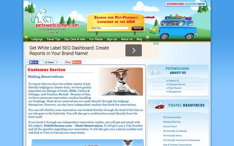 Screenshot of Support Page petswelcome.com - Customer Service | Petswelcome.com - captured Sept. 22, 2014