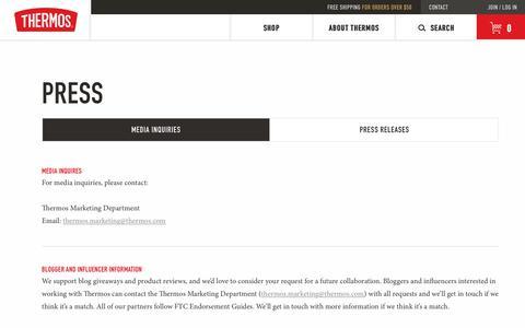 Screenshot of Press Page thermos.com - Press Page - captured Nov. 2, 2018