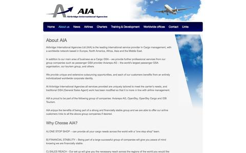 Screenshot of About Page aiacargo.com - About AIA | Airbridge International Agencies - captured Oct. 4, 2014