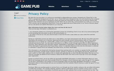 Screenshot of Privacy Page gamepub.com - Privacy Policy - Game Pub - captured Sept. 29, 2014