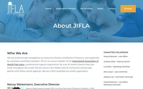 Screenshot of About Page jifla.org - About JIFLA | 501c3 Qualified Non-Profit | Jewish Interest Free Loans of Atlanta - captured Nov. 14, 2018