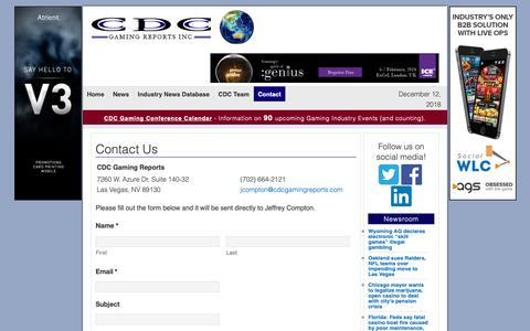 Screenshot of Contact Page cdcgamingreports.com - Contact CDC Gaming Reports - captured Dec. 12, 2018