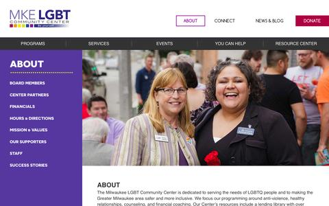 Screenshot of About Page mkelgbt.org - About - MKE LGBT Community Center - captured Sept. 21, 2015
