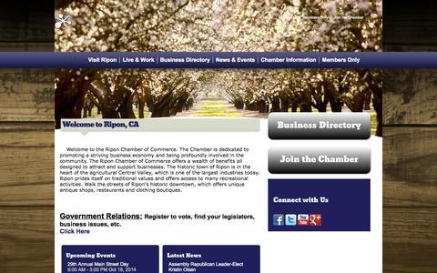 Screenshot of Home Page riponchamber.org - Ripon Chamber of Commerce   Ripon, CA - captured Oct. 7, 2014