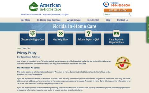 Screenshot of Privacy Page americaninhomecare.com - Private Home Healthcare Agencies, Live In Elderly Care - American In-Home Care - captured Nov. 20, 2016