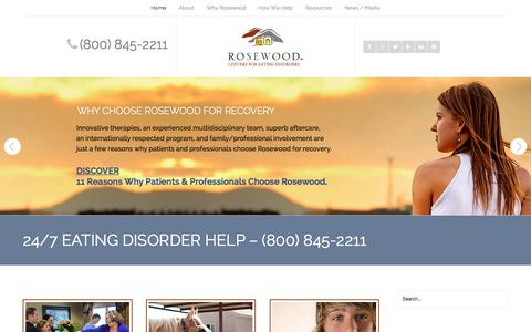 Screenshot of Home Page rosewoodranch.com - 24/7 EATING DISORDER HELP - (800) 845-2211 - Rosewood Centers for Eating Disorders - captured Sept. 3, 2015