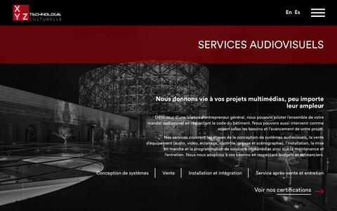 Screenshot of Services Page xyz-tc.com - Audiovisuel - Équipement, Conception & Intégration Audiovisuelle   XYZ Technologie Culturelle - captured Oct. 18, 2018