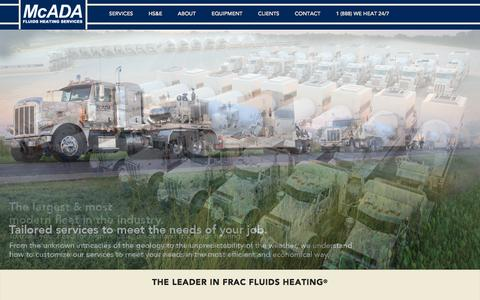 Screenshot of Home Page mcadafluidsheating.com - Home - McAda Fluids Heating Services - captured Oct. 9, 2014