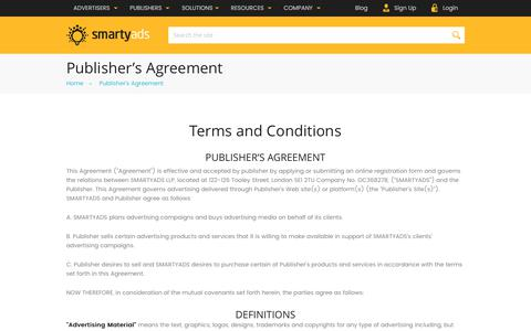 Screenshot of smartyads.com - Publisher's Agreement — SmartyAds - captured May 31, 2017