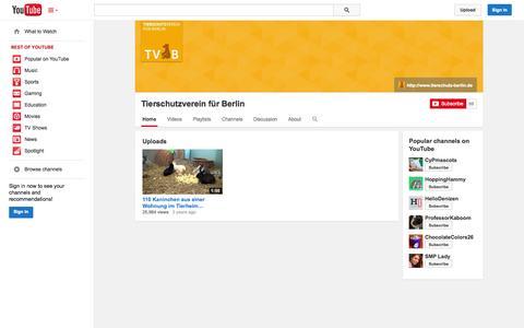 Screenshot of YouTube Page youtube.com - Tierschutzverein für Berlin  - YouTube - captured Nov. 4, 2014