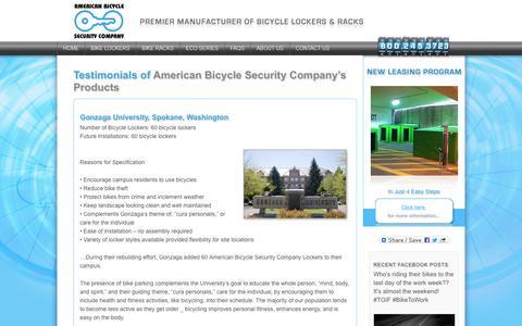 Screenshot of Testimonials Page ameribike.com - Testimonials of Bike Lockers and Bike Rack Projects - captured Oct. 4, 2014