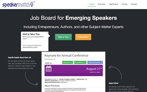Screenshot of Signup Page speakermatch.com - Job Board for Emerging Speakers, Authors, and Experts - captured Oct. 10, 2014