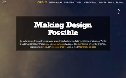 Screenshot of Home Page indigraf.com - Indigraf - Making Design Possible - captured Sept. 30, 2014