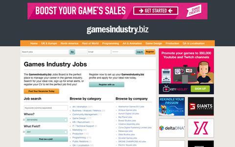 Screenshot of Jobs Page gamesindustry.biz - Jobs   GamesIndustry.biz - captured Nov. 7, 2018