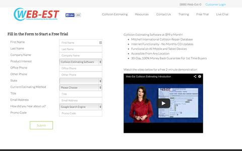 Screenshot of Trial Page web-est.com - Web-Est - Free Trial - captured Oct. 7, 2014