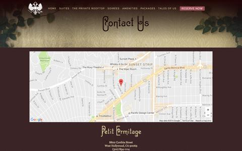 Screenshot of Contact Page petitermitage.com - Contact Our West Hollywood Boutique Hotel | Petit Ermitage - captured Nov. 5, 2016