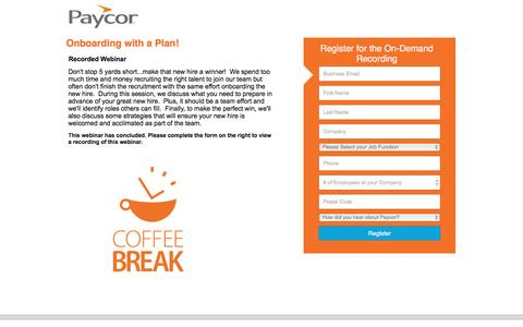 Screenshot of Landing Page paycor.com - Paycor Web Summit: Onboarding with a Plan - captured Aug. 19, 2016