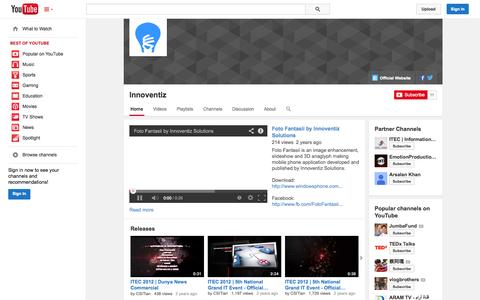 Screenshot of YouTube Page youtube.com - Innoventiz  - YouTube - captured Oct. 23, 2014