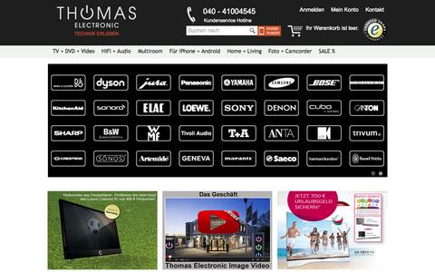 Screenshot of Home Page thomas-electronic-online-shop.de - Thomas Electronic Onlineshop - Unterhaltungselektronik in Hamburg - captured Sept. 19, 2014